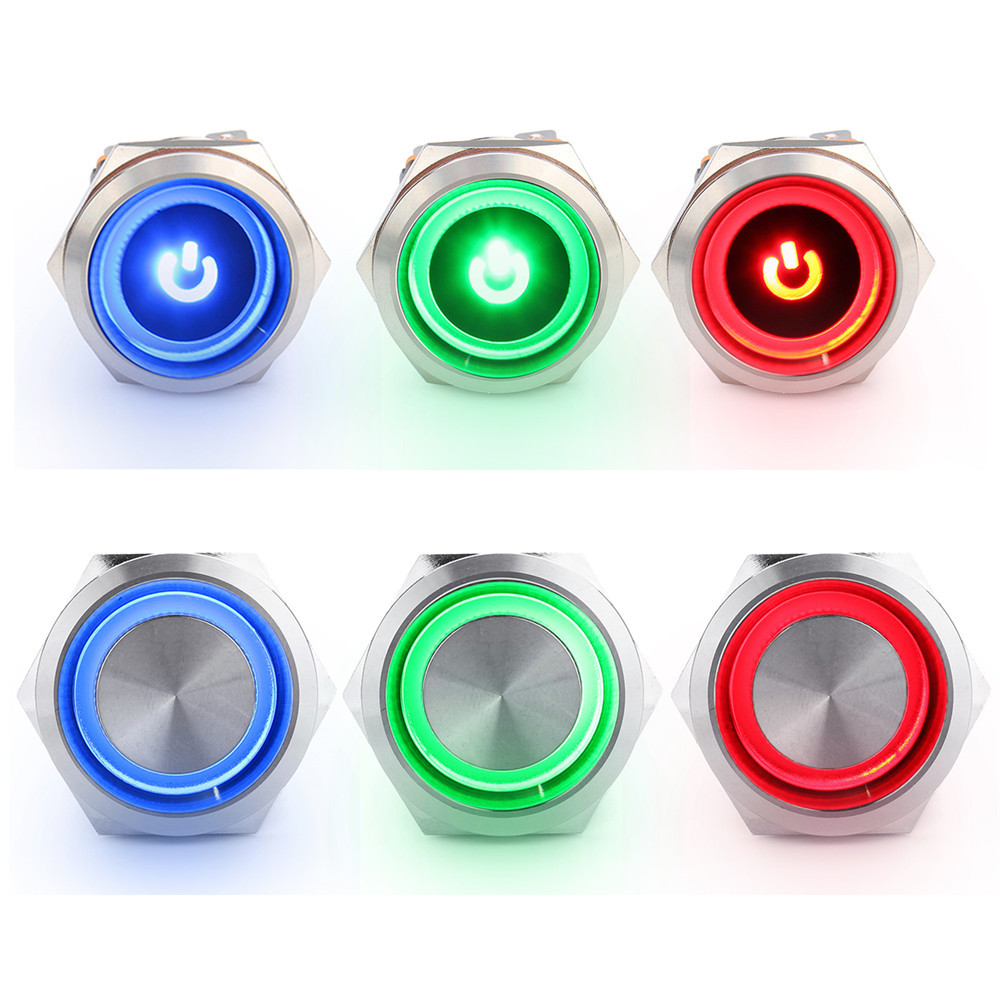 12/24V <font><b>22mm</b></font> Dash Panel Metal Push Button <font><b>Switch</b></font> <font><b>LED</b></font> Indicator Warning Light Self locking device power <font><b>switch</b></font> for car yacht ship image
