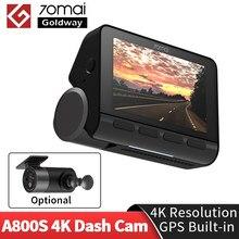 70mai 4k traço cam a800 a800s built-in gps 4k sistema de visão dupla adas fcw dvr 140fov real uhd câmera de vídeo do carro 70 mai 4k a800 s