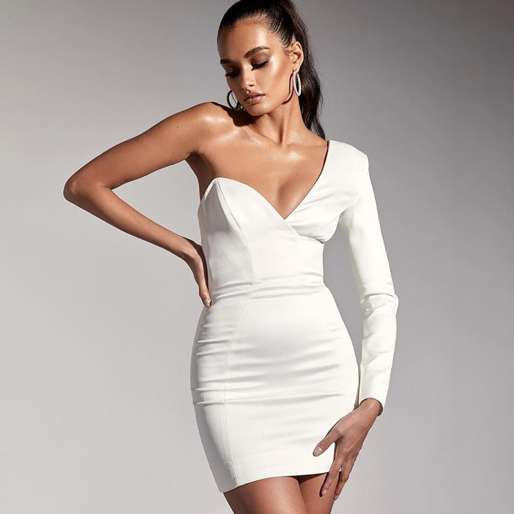 Elegant One Shoulder Mini Dress Bandage Short White Formal Evening Party V Neck Sheath High Quality Dresses Woman Party Night