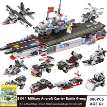 886Pcs Military Aircraft Carrier ARMY NAVY Warship Building Blocks Sets LegoINGs Creator Bricks Toys for Children Christmas Gift 472pcs invincible battleship warship navy bricks military army soldiers building blocks toys for children