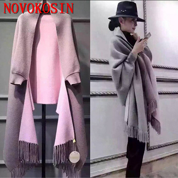 SC2 2018 Oversize Out Wear Scarf Winter Knitted Poncho Women Solid Design Cloak Female Long Batwing Sleeves Coat Vintage Shawl