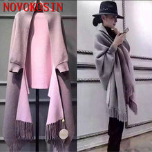 SC2 2018 Oversize Out Wear Scarf Winter Knitted Poncho Women Solid Design Cloak Female Long Batwing Sleeves Coat Vintage Shawl(China)