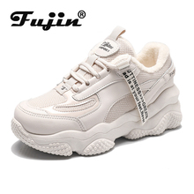 Fujin Women Sneakers Winter Plush Warm Fur Women Ca