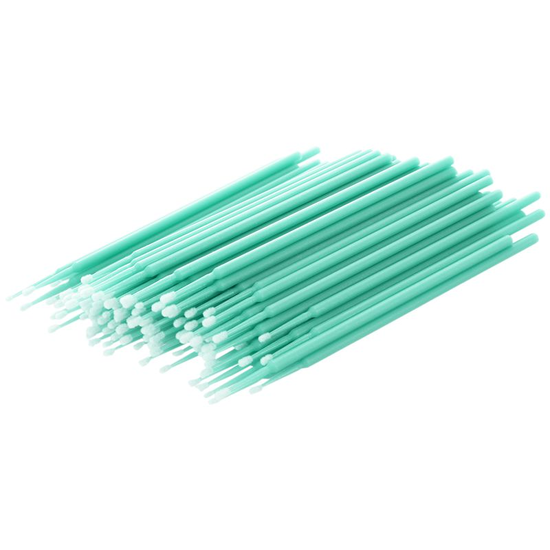 100 Pcs Disposable Swab Applicator Micro Brush Eyelashes Extension Mascara Tools Green