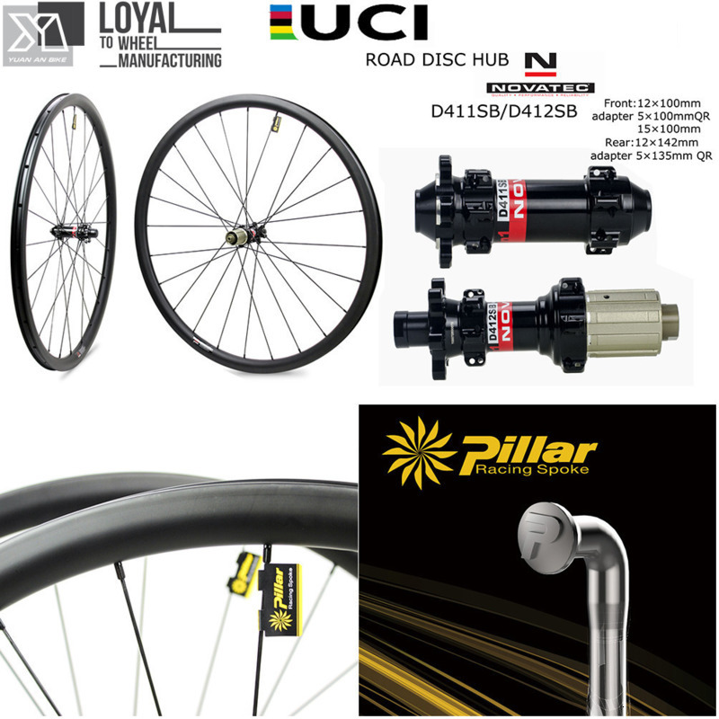 Elite Disc Brake <font><b>Wheels</b></font> Gravel <font><b>Bike</b></font> Wheelset Cyclocross Carbon Rim Pillar 1423 <font><b>Spoke</b></font> Novatec D411 D412 Hub Center Lock Or <font><b>6</b></font> Bolt image