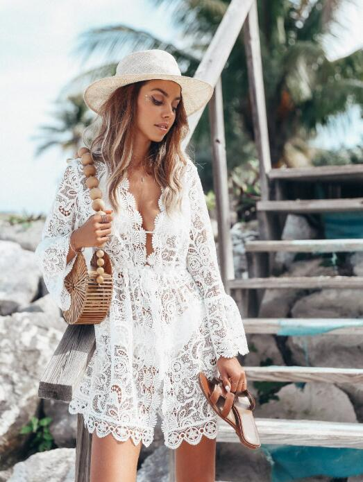 Summer Beach Dress Women 2020 V-neck Long Flare Sleeve Floral Lace Dress Sexy Hollow Out See Through Casual Dress White