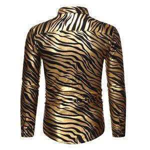 Image 2 - Mens 70s Metallic Gold Zebra Print Disco Shirt 2019 Brand New Slim Fit Long Sleeve Mens Dress Shirts Party Prom Stage Chemise