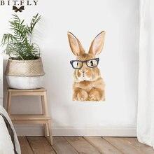 Мультяшные очки кролик стикер на стену декор для гостиной шкаф