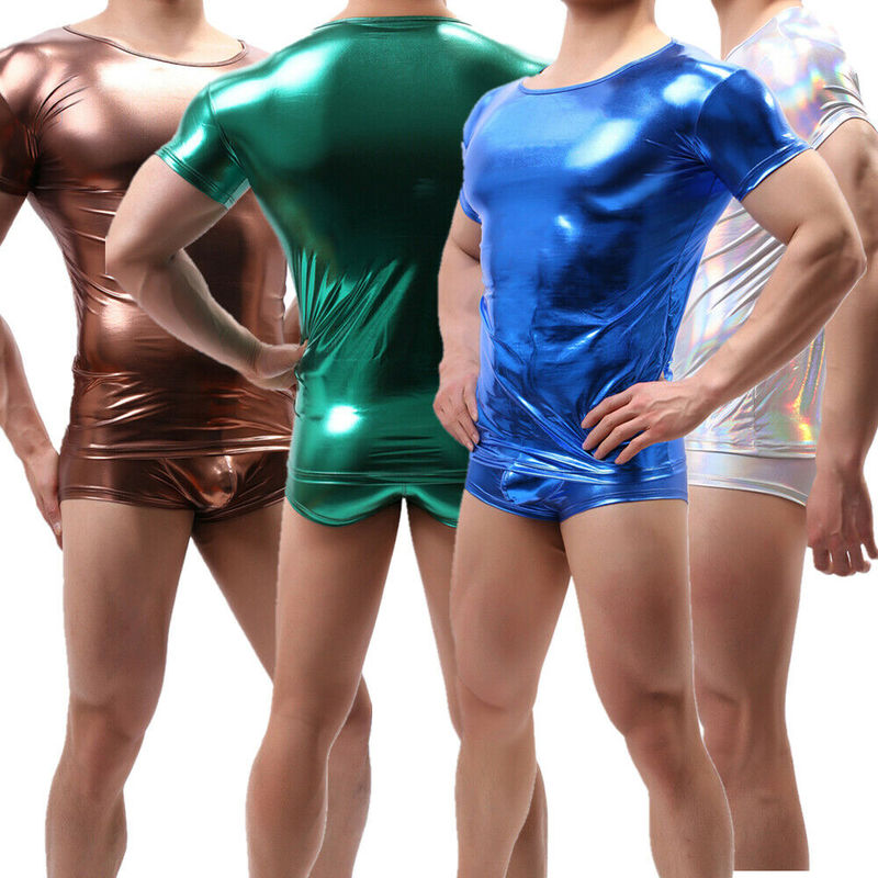 Shiny PU Leather Wet Look Men Short Sleeve T Shirts Shirt Stage Dance Clubwear Tops Tees Boxer Shorts Underwear Mens Clothes Set