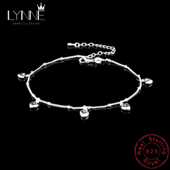 New Fashion 925 Sterling Silver Simple Exquisite Heart Pendant Anklets Women Jewelry Birthday Gift Summer Foot Chain Bracelets