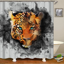 Cute Cartoon Animal Shower Curtain tiger Waterproof Polyester Fabric Printing Bathroom Accessories