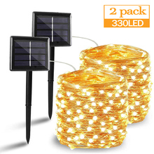 50 100 200 330 LED Solar Light Outdoor Lamp String Lights For Holiday Christmas Party Waterproof Fairy Lights Garden Garland cheap ZTree CN(Origin) Solar Cell Beads for garden for patio for room window for bedroom for garden fence for lanscape for wedding
