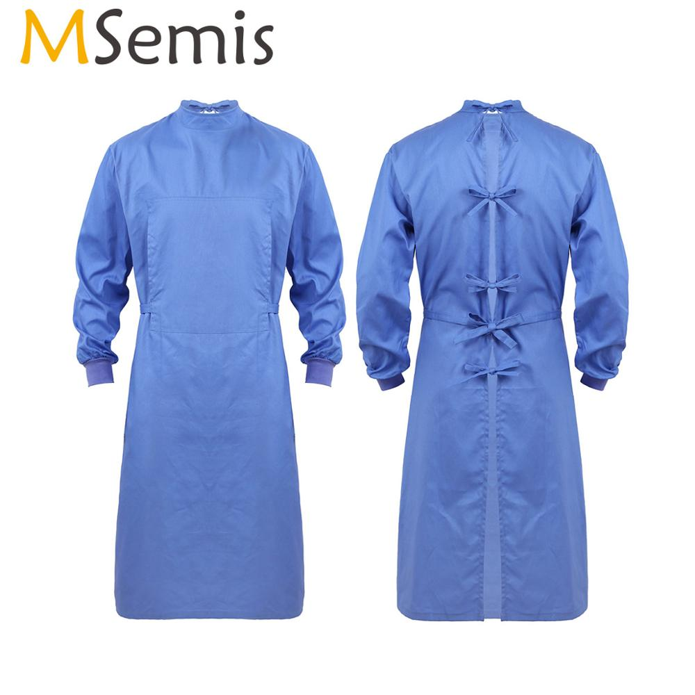 Men Women Doctors Nurse Surgical Gown Unisex Reusable Medical Isolation Protective Lab Coats Surgeon Workwear Wrap Around Gowns