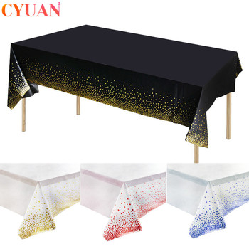 Rose Gold Dot Gilded Tablecloth 137*274cm Disposable Table cloth Kids Birthday Party Supplies Baby Shower Wedding Home Decor - discount item  38% OFF Festive & Party Supplies