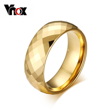 Vnox Men Ring Tungsten Jewelry Gold Color Custom Name Wedding Gift US size 7 8 9 10 11 12 13