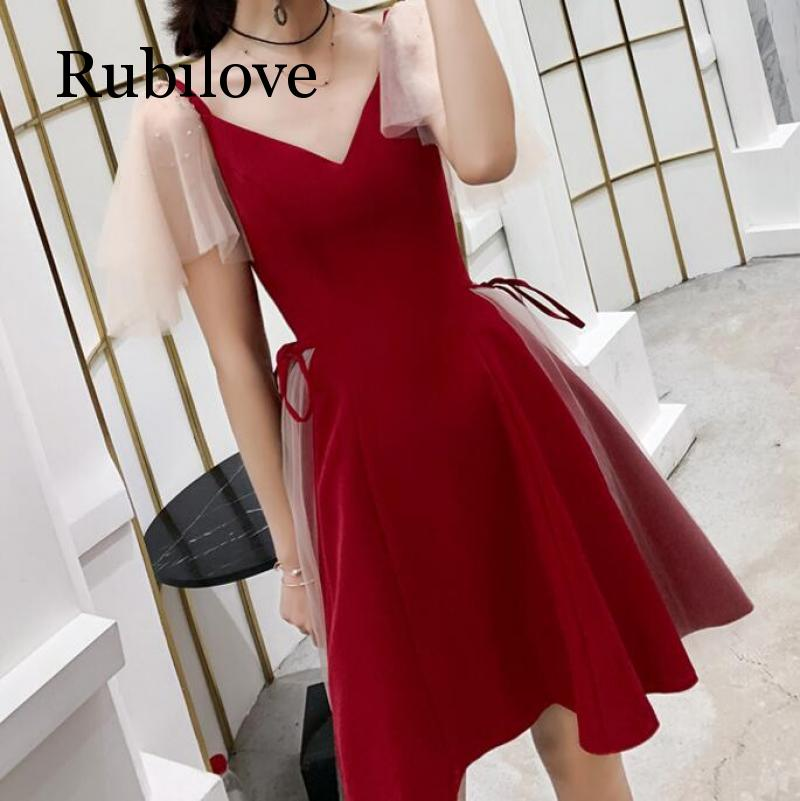 Rubilove Red slim dress 2019 new party sexy toast clothing modern short women