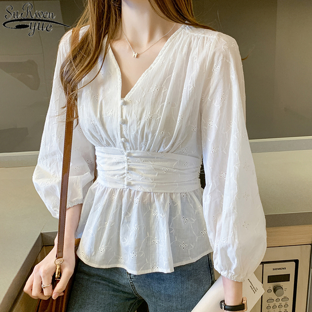 V-neck Shirt Woman Solid White Lace Top Sweet Blouse Women 2021 Autumn Chic Long Sleeve Office Lady Clothing with Button 10539 3