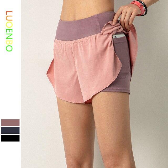 Luoenbo shorts de ginástica dupla, bermuda de academia respirável com bolso lateral, secagem rápida, yoga, mulheres, roupa esportiva 2020