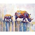 Красочные носорога, ручная работа, Краски высокое качество холст красивые Краски ing по номерам подарок-сюрприз большое достижение