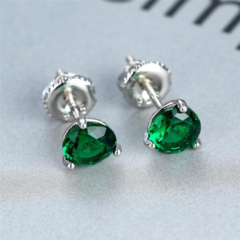 Classic Round Emerald Screw Back Earrings 925 Sterling Silver Green Crystal Zircon Stud Earrings For Women Jewelry Wedding Gifts