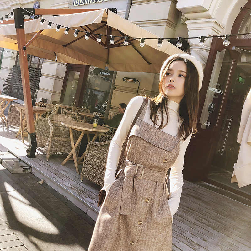 MISHOW 2019 خريف شتاء جديد فستان بروتيل للنساء كاجوال ضيق مناسب مع جيب كاكي طول الركبة فستان MX18D1059