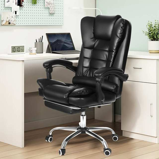 Office Computer Chair Ergonomic Adjustable Rotating PU Leather Gaming Chair Armchair with Footrest Computer Lifting Swivel Chair 1