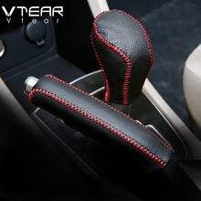 Cobertura de freio vtear para carro, capas para freio de mão estilo interior de kia rio 3/rio 4 acessório costurado à mão