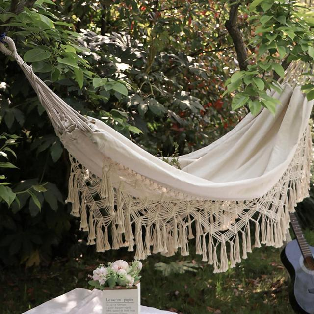 ins Style 2 Person Hammock Large Brazilian Macrame Fringe Double Deluxe Hammock Swing Net Chair Outdoor Indoor Hanging Deco 2