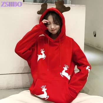 Merry Christmas Harajuku hoodie women winter jacket Christma gift Red hoodies Kawaii Snow deer print album sweatshirt Korean pop