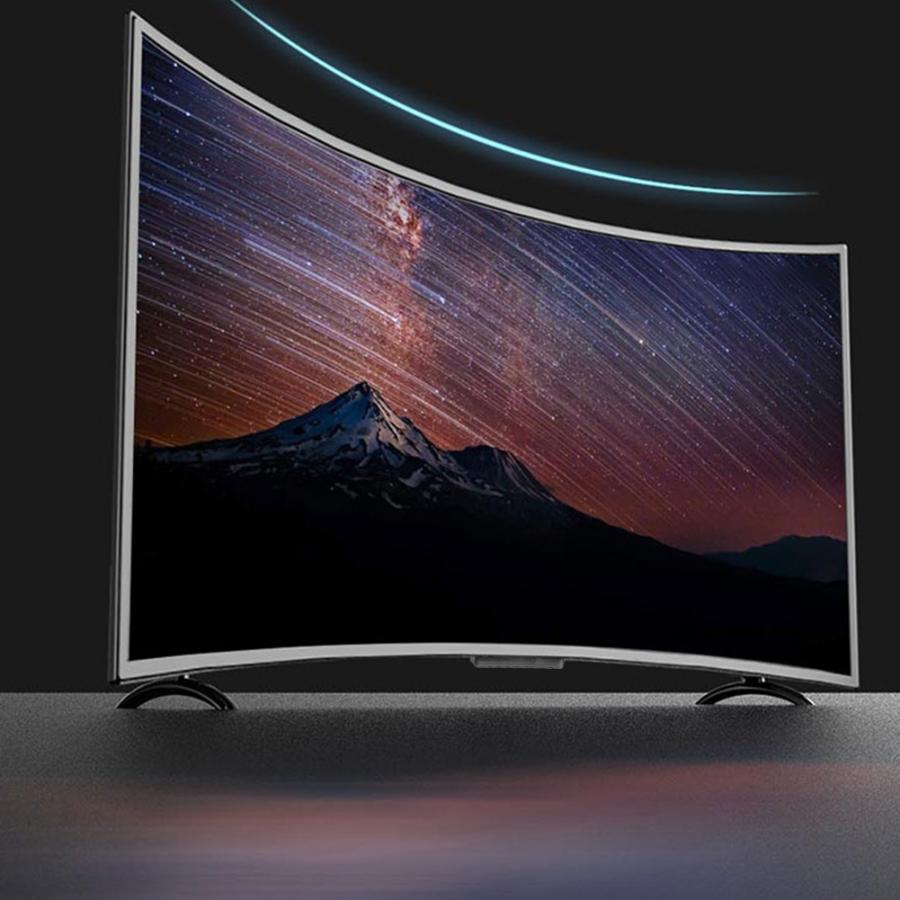 32 Inch Large Curved Screen 60Hz Smart AI Television 3000R Curvature TV 4K HDR Network Version Support WiFi VGA DMI RF 110V-220V