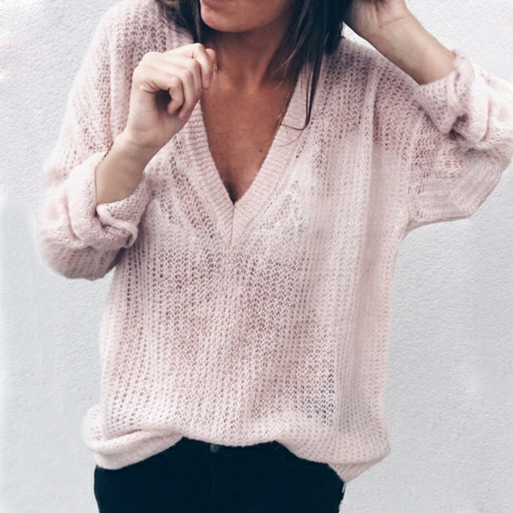 2019 Autumn Winter Fashion V Neck Sweater Women Knitted Pullovers Tops Oversized Solid Color Jumpers Plus Size 5xl Sweater Tops