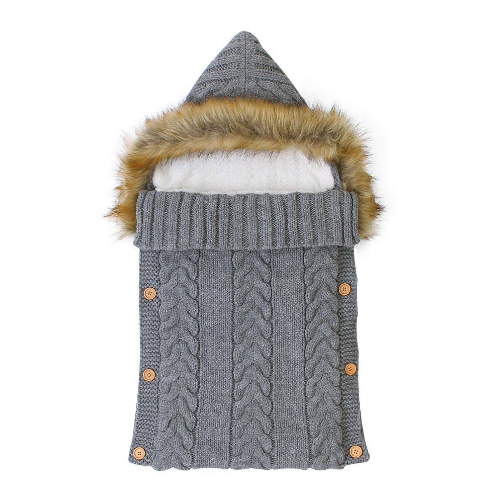 Baby Sleeping Bags Envelopes Swaddle Wrap Grey Hooded Newborns Girls Knitted Sleepsacks Winter Warm Infantil Boys Stroller 0-6M