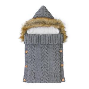 Image 1 - Baby Sleeping Bags Envelopes Swaddle Wrap Grey Hooded Newborns Girls Knitted Sleepsacks Winter Warm  Infantil Boys Stroller 0 6M