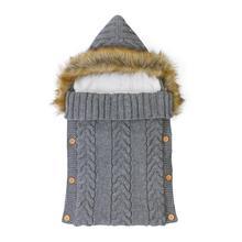 Bebek uyku tulumu zarf kundak battaniyesi gri kapşonlu yenidoğan kız örme Sleepsacks kış sıcak Infantil erkek arabası 0 6M