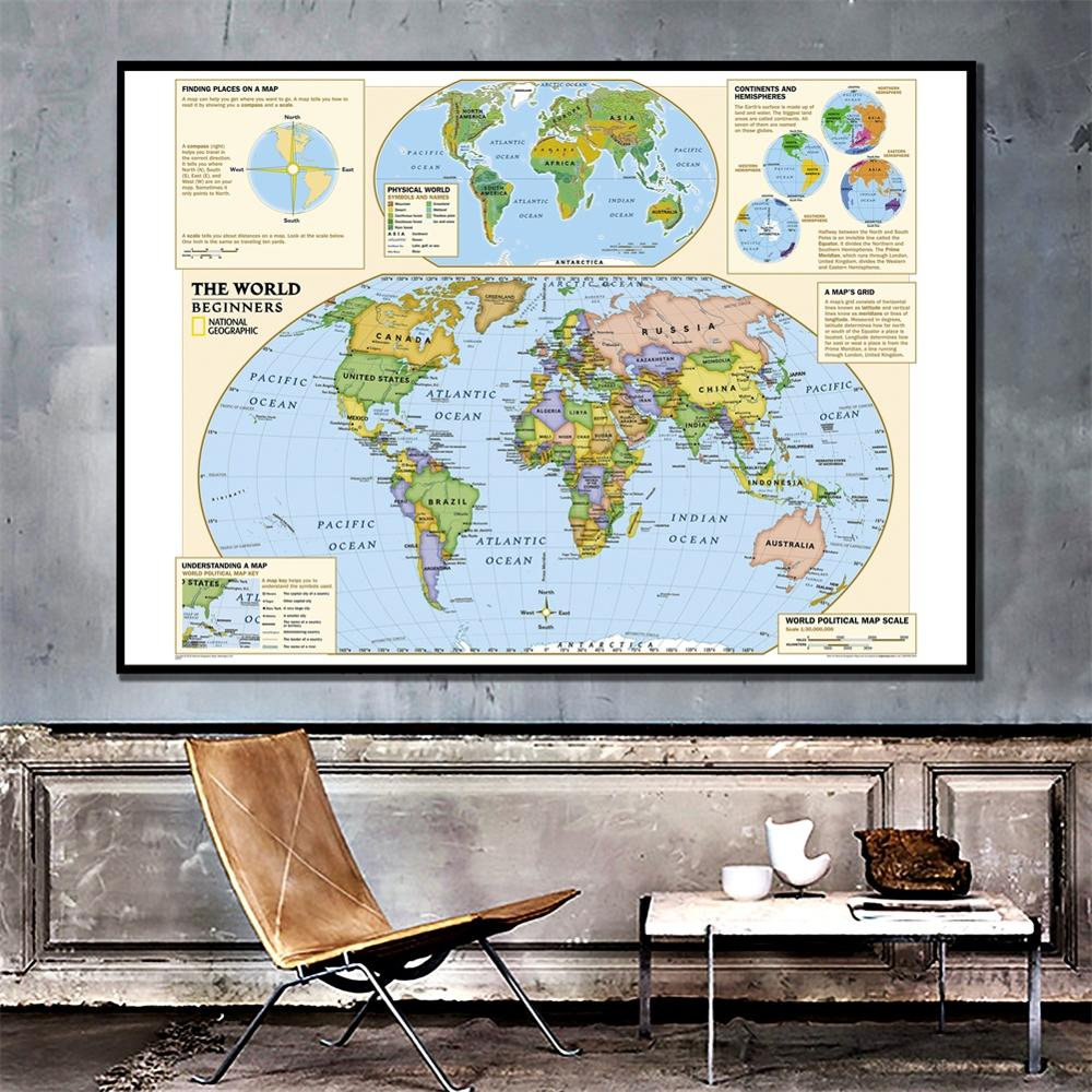 MAP Full Size 24x36 Inch Print ~ Flag Index /& Capital Cities WORLD MAP Poster