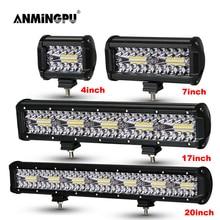 ANMINGPU 4 20 אינץ מכביש LED בר 12V 24V קומבו LED אור בר/עבודת אור עבור רכב Jeep משאית Suv 4x4 טרקטורונים LED Lightbar פנס