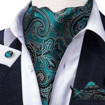 цена Men Vintage Teal Blue Paisley Floral Silk Gentlemen Self Tie Cravat Ascot Necktie Handkerchief Set Wedding Formal Ascot DiBanGu онлайн в 2017 году