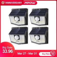 Mpow 30 LED พลังงานแสงอาทิตย์กลางแจ้ง PIR Motion Sensor 2/4 แพ็ค 19.5% แผงพลังงานแสงอาทิตย์ที่มีประสิทธิภาพ 270 กว้างมุมการส่องสว่าง