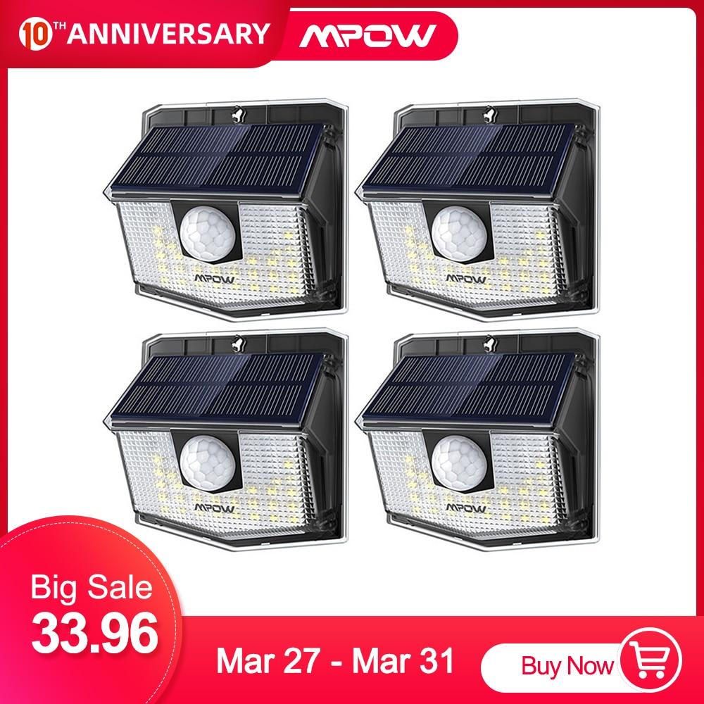 Mpow 30 LED Solar Light Outdoor PIR Motion Sensor Lights 2/4 Packs 19.5% High-efficient Solar Panel 270 Wide Illumination Angle
