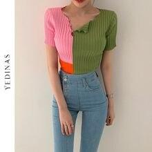 Yedinas Color Patchwork T Shirt Women Korean Style Knitted T Shirts Slim Short Sleeve Tee Shirt Summer Harajuku Chic Ribbed Tops