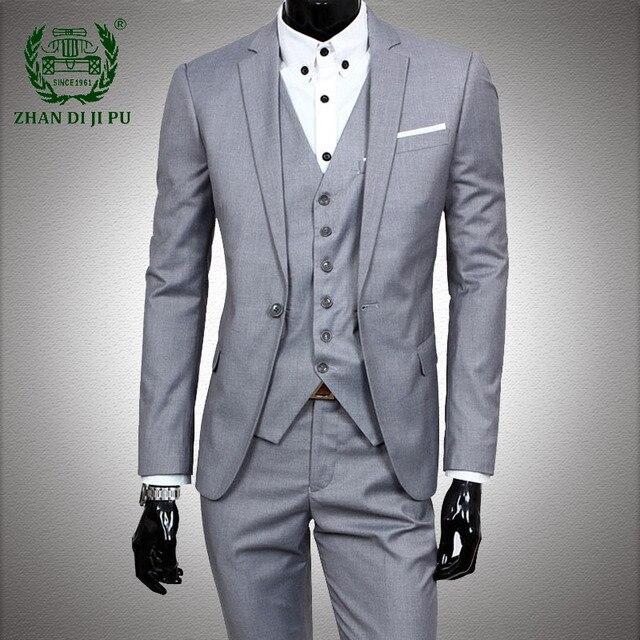 Big Size 6XL Dress Suits Men Business Blazer +Vest +Pants 3 Pieces Sets Male Wedding Prom Slim Fit Tuxedo Mens Formal Work Set