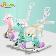 Ruizhi дети милый Единорог качалка Лошадь мигающее колесо детская музыкальная коляска многофункциональное кресло-качалка детские игрушки подарки RZ1128