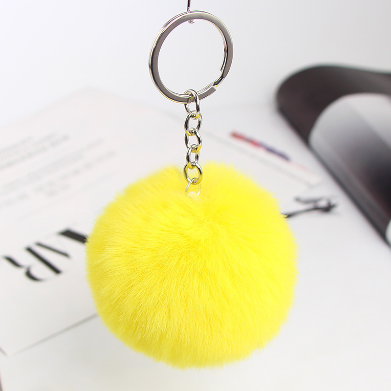 Rabbit Fluffy Ball <font><b>Key</b></font> Chain Cute Cream <font><b>Pompom</b></font> Artificial Fur Rabbit Fur Keychain Pendant Jewelry <font><b>Key</b></font> Women Car Bag <font><b>Ring</b></font> Diy image