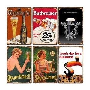 Beer Poster Vintage Metal Tin Sign Bar Pub Club Man Cave Wall Decorative Plates Retro Plaque Home Decor 20x30cm
