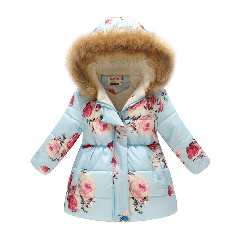 Winter Girls Warm Down Jackets Kids Fashion Printed Thick Outerwear Children Clothing Autumn Baby Girls Cute Jacket Hooded Coats 6