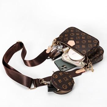 Vintage Printing Handbag 3-IN-1 Fashion Brand Messenger Bags for Women Pu Leather Crossbody Bag Lady Small Purse Handbag Totes 3