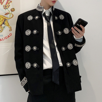 Gothic Blazer Casual Suit Jacket Male Streetwear Hip Hop Outerwear Stage Clothes Coat Men Vintage Embroidery Stand Collar Loose