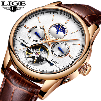 LIGE Fashion Mens Automatic Mechanical Watches Luxury Business Tourbillon Waterproof Watch Mens Casual Leather Date WristWatch