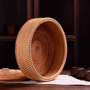 Image 2 - Hand woven Basket Primary Colours Simple retro Rattan Storage Boxes with lids Jewelry Tea set Storage Boxes Household items