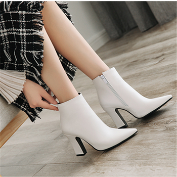 black Ankle Boots for Women Chunky Boots High Heel Autumn Winter Pointed Toe Booties Woman Fashion Zipper Black Boots 2019